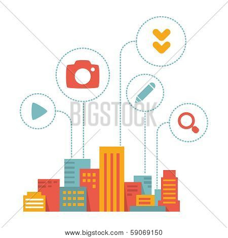 Flat Style Illustration Modern City  With Icons Of Daily Activity