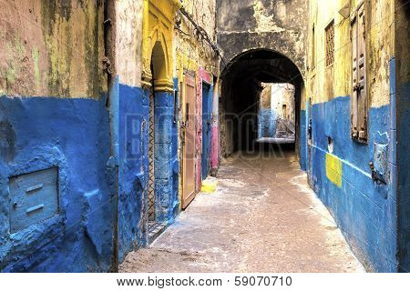 Typical alley in a Moroccan town, Africa
