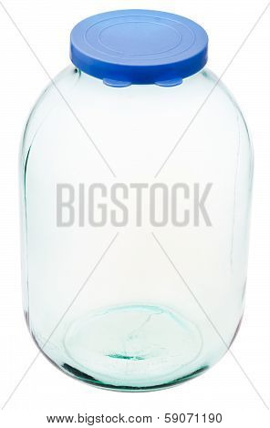 Closed Three-liter Glass Jar Isolated