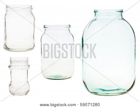 Set Of Open Glass Jars Isolated On White