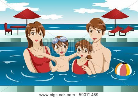 Family In A Swimming Pool