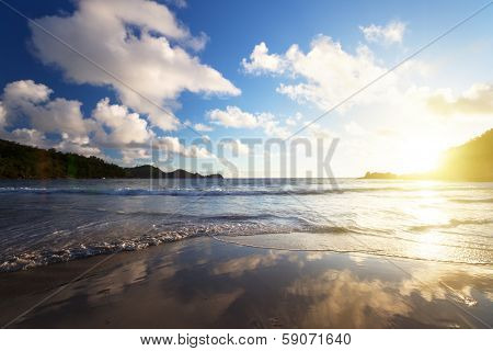 sunset on the tropical beach, Mahe island, Seychelles