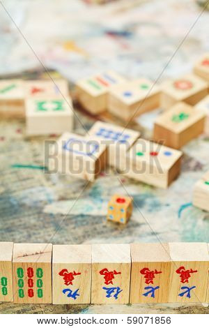 Wooden Tiles And Playing Field In Mahjong Game