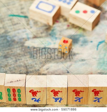 Mahjong Wood Tiles Close Up And Playing Field