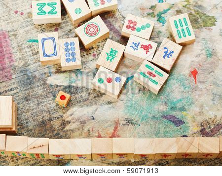 Playing In Mahjong Game By Wood Tiles