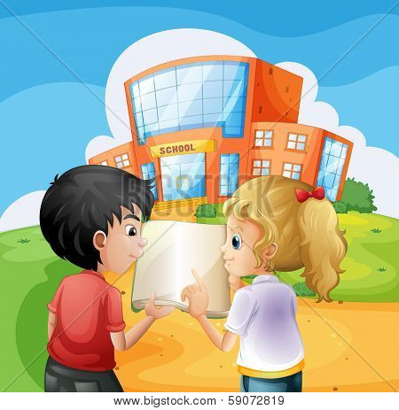 Illustration of the kids arguing in front of the school building