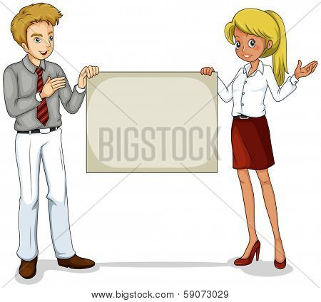Illustration of the two business icons holding an empty signage on a white background