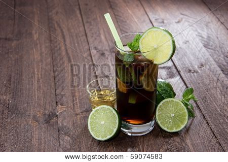 Fresh Made Cuba Libre On Wood