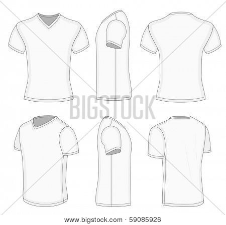 All views men's white short sleeve t-shirt v-neck design templates (front, back, half-turned and side views). Vector illustration. No mesh. Redact color very easy!