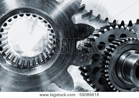 gears and cogwheels, titanium and steel, industrial parts