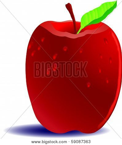 Red Apple with Dew