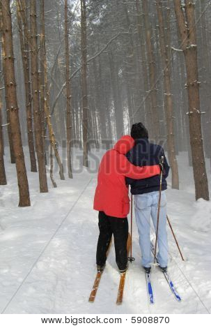 Happy Couple Cross Country Skiing