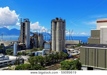 Cement Plant at day in Hongkong
