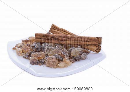 Rock candy sugar and cinnamon