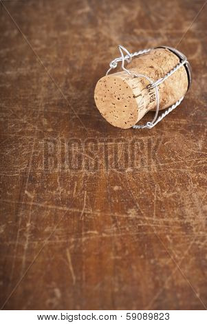 bottle corks on the wooden background