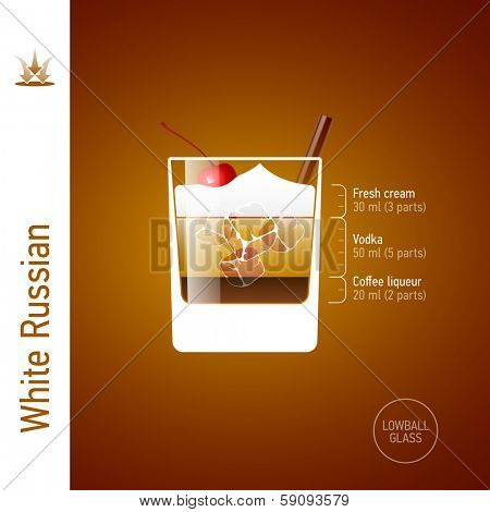 White Russian. Cocktails infographics, vector.
