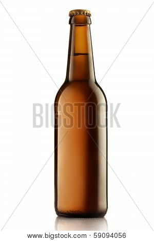 Brown Bottles Of Beer On A White Background