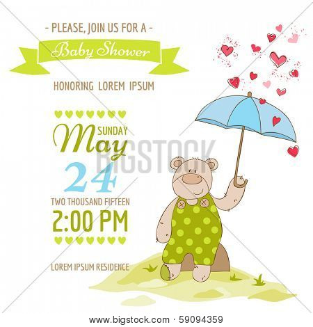 Baby Shower Card - with Baby Bear and Umbrella - in vector