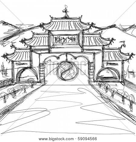 Kung Fu Concept. Sketch background with china
