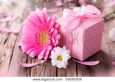 Macro photo of gerber flower with small gift on wood