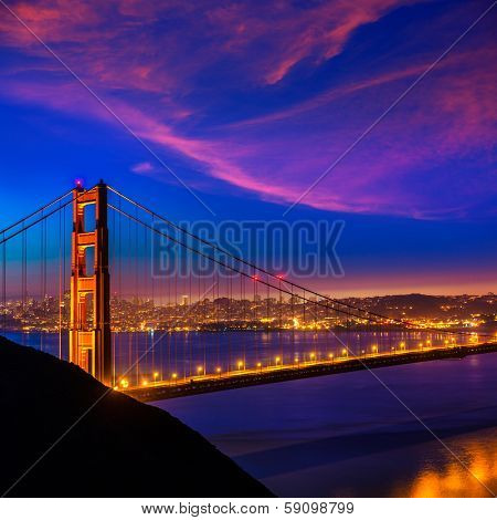 Golden Gate Bridge San Francisco sunset view through cables in California USA