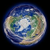 picture of northern hemisphere  - Main air travel flight paths on northern hemisphere view from above north pole - JPG