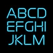stock photo of alphabet  - 3D realistic blue neon letters - JPG