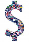 Dollar sign made from US States flags
