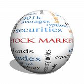 foto of stock market crash  - Stock Market 3D sphere Word Cloud Concept with great terms such as exchange risk funds money and more - JPG