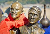 ULAN-UDE, RUSSIA - NOV 24, 2012: Flea Market, bronze busts of Adolf Hitler and Vladimir Lenin in Nov