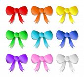 picture of bow tie hair  - A collection of 9 different colored bows - JPG