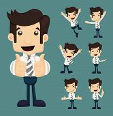 picture of cartoons  - Set of businessman characters poses eps10 vector format - JPG