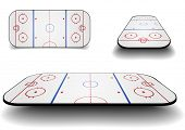 detailed illustration of a set of icehockey courts with different perspectives, eps10 vector