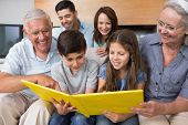 picture of extended family  - Happy extended family looking at their album photo in the living room - JPG