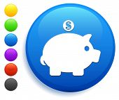 Piggy Bank Icon on Round Button Collection