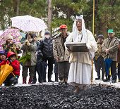 NAGANO, JAPAN - FEB 4, 2013: Shinto Ascetics firewalk during a Shinto ritual. Known as Yamabushi, th