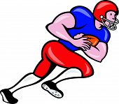 stock photo of scat  - Illustration of an american football gridiron running back player running rushing with ball facing side on isolated background done in cartoon style - JPG