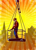 foto of pulley  - Poster illustration of a construction worker wearing hardhat being hoisted on pulley platform with building in background done in retro style - JPG