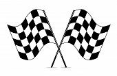 foto of motocross  - vector black and white crossed racing checkered flags clipart - JPG