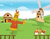 stock photo of scarecrow  - Illustration of a farm with a scarecrow - JPG