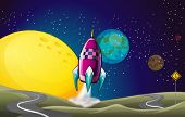 stock photo of outerspace  - Illustration of a spaceship in the outerspace near the moon - JPG