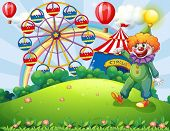 picture of hilltop  - Illustration of a hilltop with a clown and an amusement park - JPG