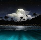 picture of moon silhouette  - Magical evening on the ocean and the moon  - JPG