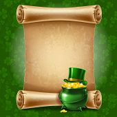 St.Patrick's Day background with vintage scroll paper. Vector illustration