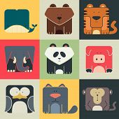 image of panda  - Set flat square icons of a cute animals on color background - JPG