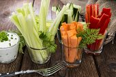 image of crudites  - Crudites stripes (fresh diet food) in small glasses