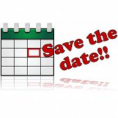 stock photo of beside  - Icon showing a calendar with a date marked in red and the words  - JPG