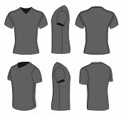 All views men's black short sleeve t-shirt v-neck design templates (front, back, half-turned and sid