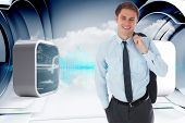 Smiling businessman holding his jacket against abstract blue design on clouds in structure