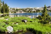 picture of beartooth  - Alpine lake along the Beartooth Highway in Wyoming - JPG